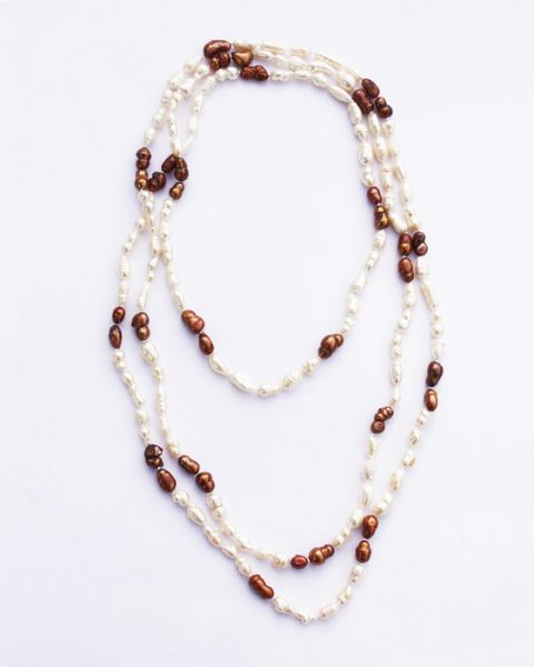 Brown and White Freshwater Pearl Necklace