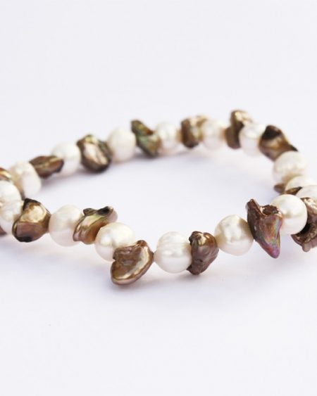 White and brown freshwater pearl bracelet