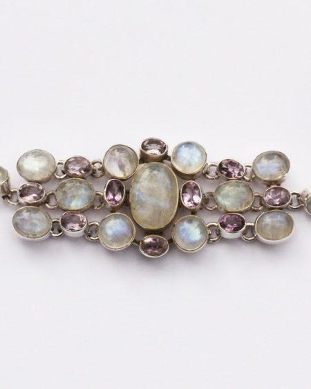 Moonstone & Amethyst cuff style bracelet