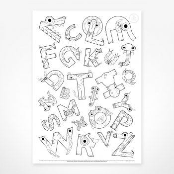 Colour me in Alphabet poster