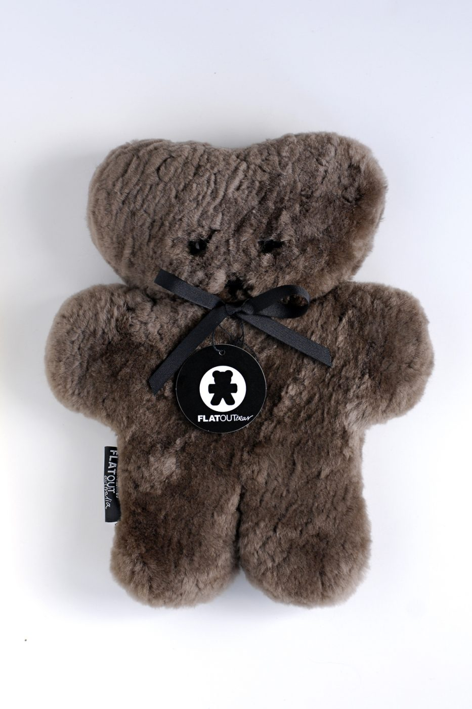 100% Sheepskin Flat Teddy Bear – Chocolate
