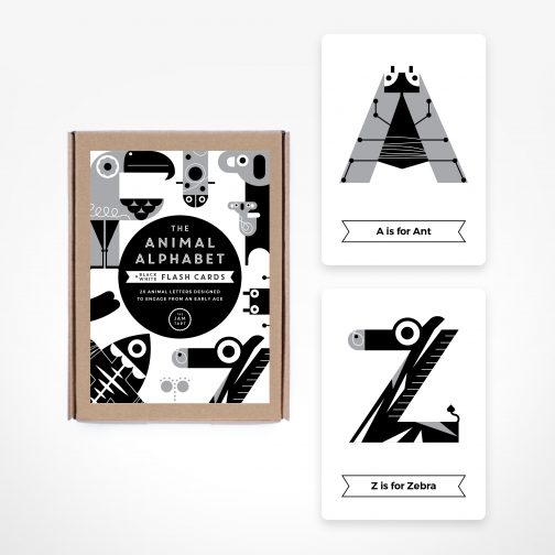 black and white flash cards