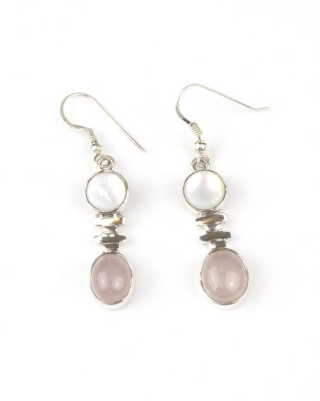 mother of pearl, rose quartz, drop earrings, hook fastening, rose quartz drop earrings