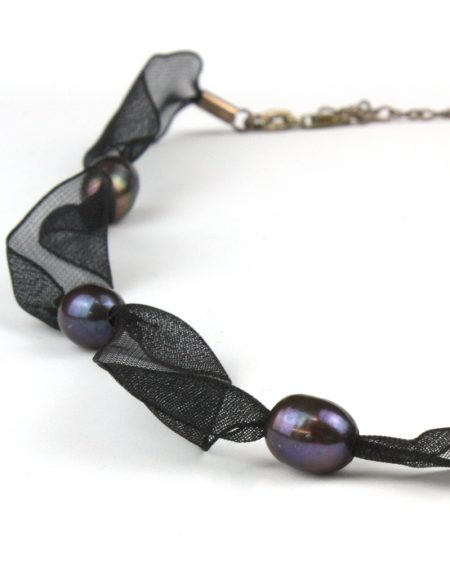 Black Ribbon and pearl necklace