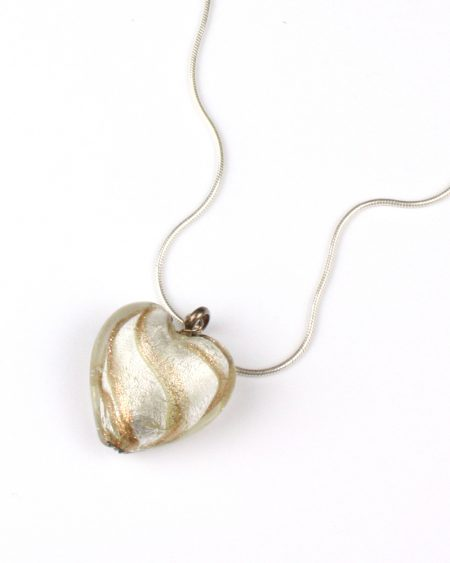 gold glass heart pendant on silver snake chain