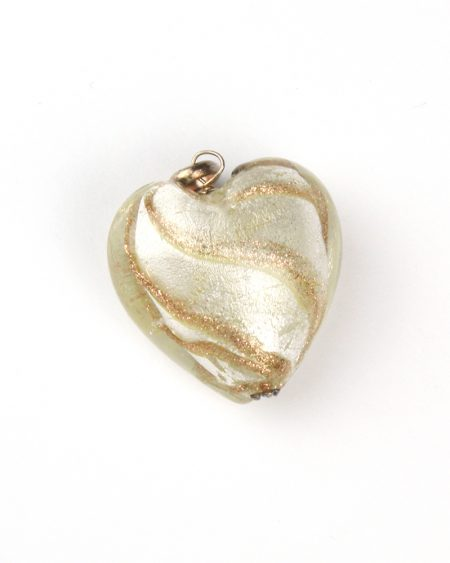Glass heart pendant – gold and bronze