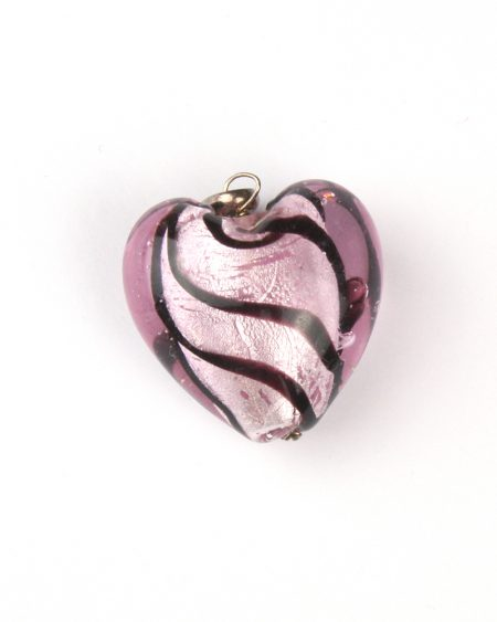 Glass heart pendant – pink swirl