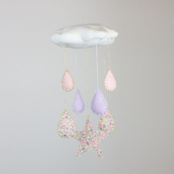 Liberty of London handmade pink cloud mobile