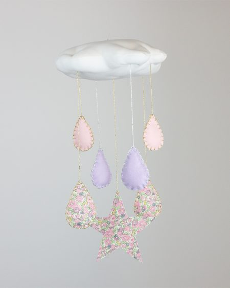 Cloud Mobile featuring stars, teardrops and liberty of london fabric, Liberty of London Cloud and Teardrop cot mobile