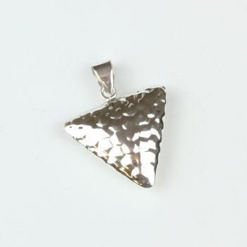 Silver triangle pendant with hammered finish