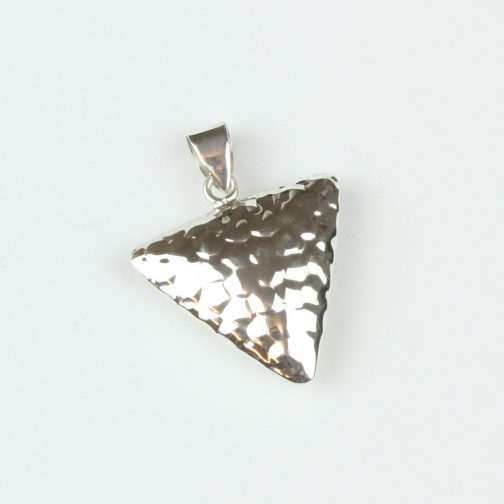 Triangle silver pendant with hammered effect finish