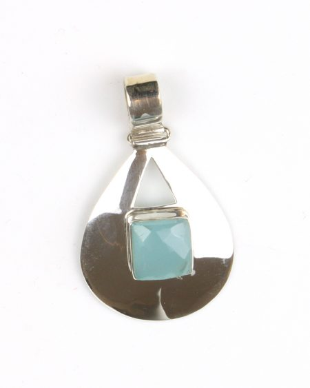 silver pendant with faceted blue chalcedony stone
