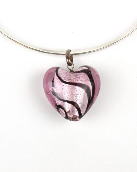 Glass heart pendant – pink swirl