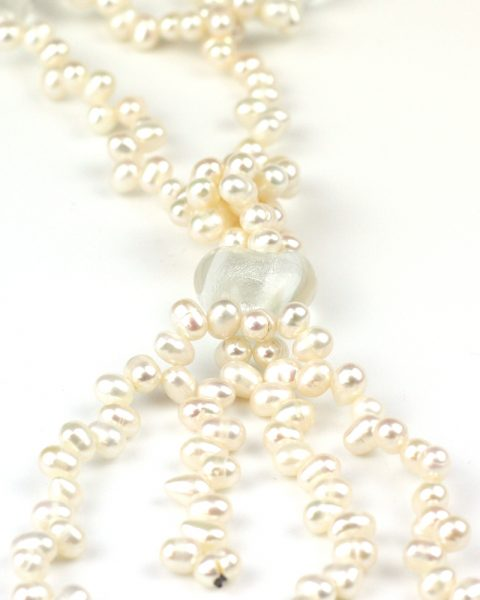 Freshwater pearl tassle heart necklace