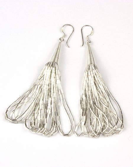 silver drop earrings made of layers to look like liquid silver