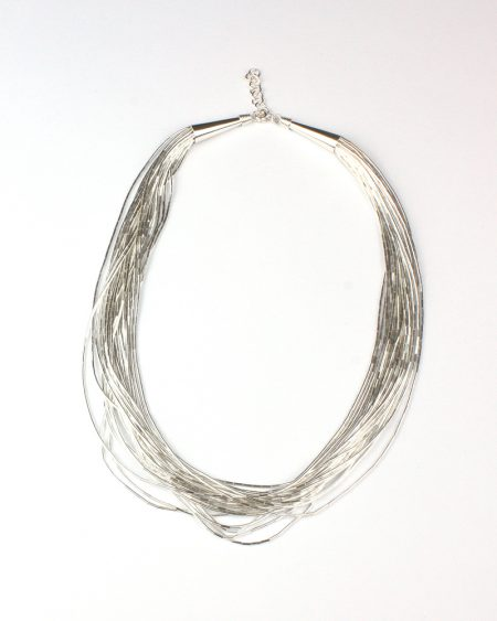 heavy multi strand liquid, silver necklace, silver, silver necklace, necklace