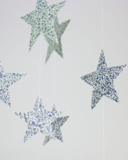 Handmade Blue Liberty of London Cloud & Star Mobile