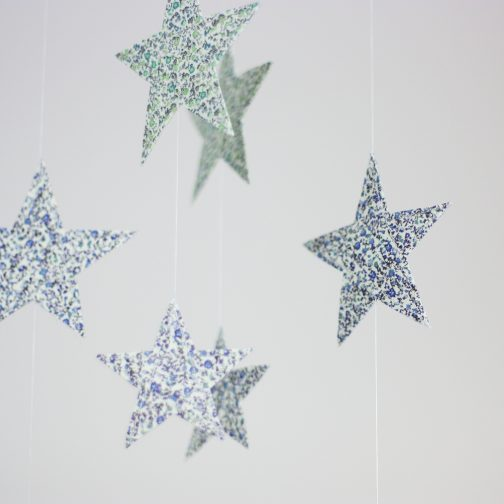 Liberty of london fabric, cloud mobile, cot mobile, star cot mobile