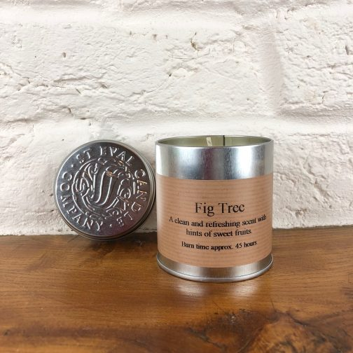 Fig tree candle, fig tree, candle, candle in a tin, tin candle