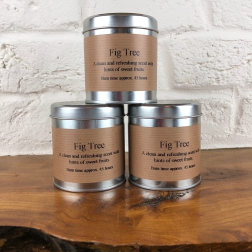 Fig tree, candle in a tin, tin candles, fig