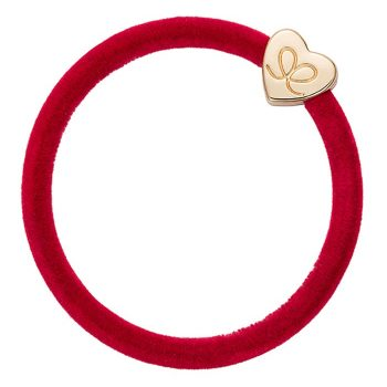 Bangle Bands Hair Tie, Red Velvet With Gold Heart Detail