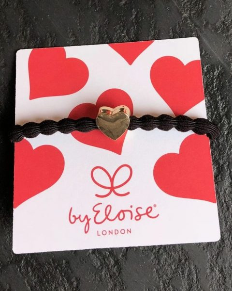 Bangle Bands Hair Tie, Chocolate Bubble With Gold Heart Detail