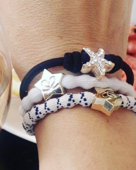 Bangle Band Duo – Grey & Silver Hair Ties With Silver Star Charms