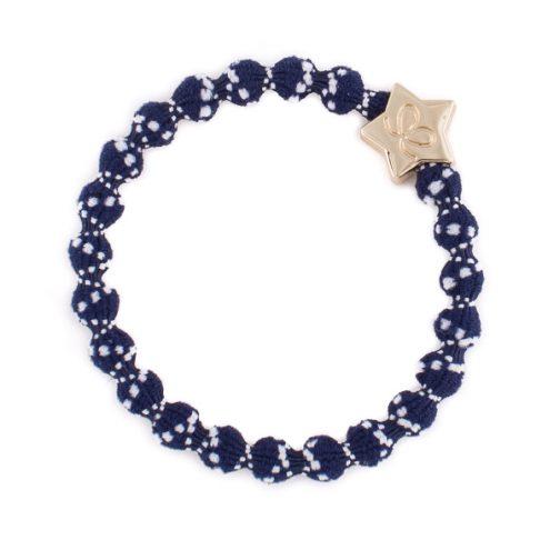 classic nautical bangle band, white on blue. star charm.