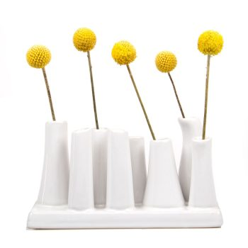 Multi-Stem White Vase