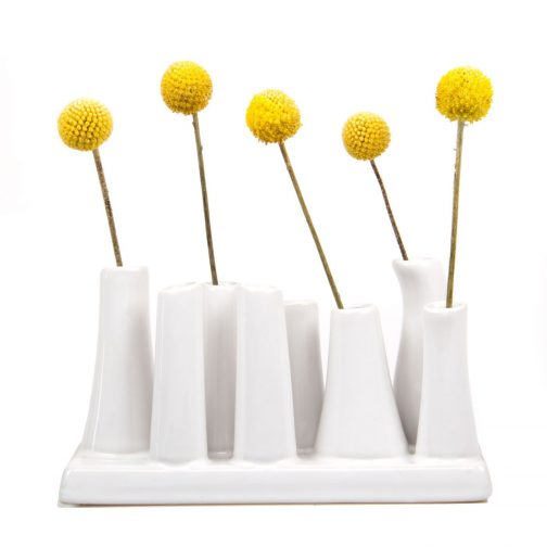 pooley white vase, single stem display