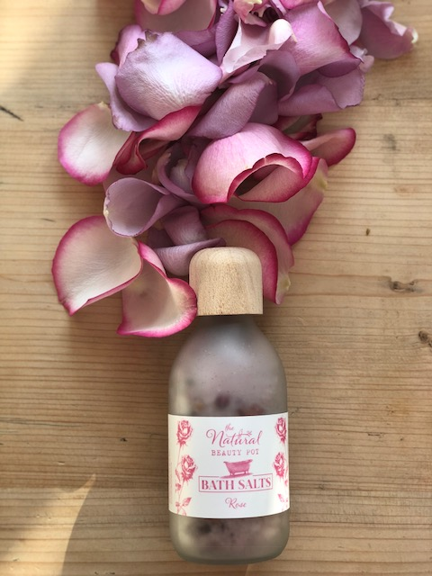 rose bath salts, handmade with epsom salts in frosted glass bottle