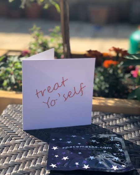 Mooch x Kitty Ricco – Handmade Treat Yo'self card and Spacemask