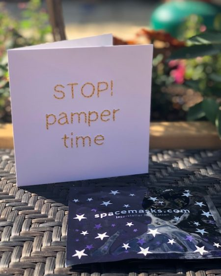 Mooch x Kitty Ricco – Handmade Pamper card and Spacemask
