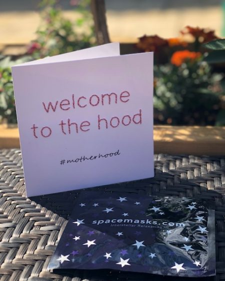 Mooch x Kitty Ricco – Handmade #Motherhood card & Spacemask