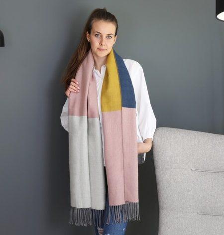 Ladies Multi-Colour Block Blanket Scarf