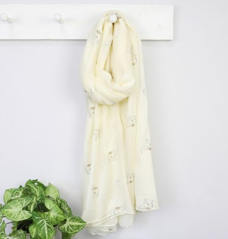 Ladies Metallic Elephant Cream Scarf