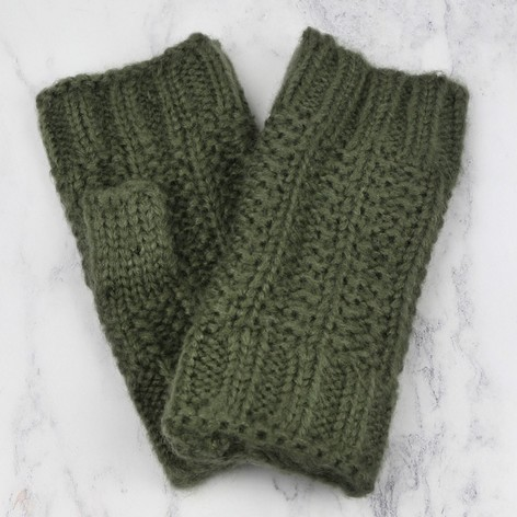 Ladies Khaki Knit Handwarmers