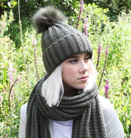 Womens Khaki Knit Beanie Hat