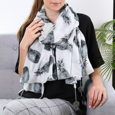 Monochrome Ladies Pineapple Pom Pom Scarf