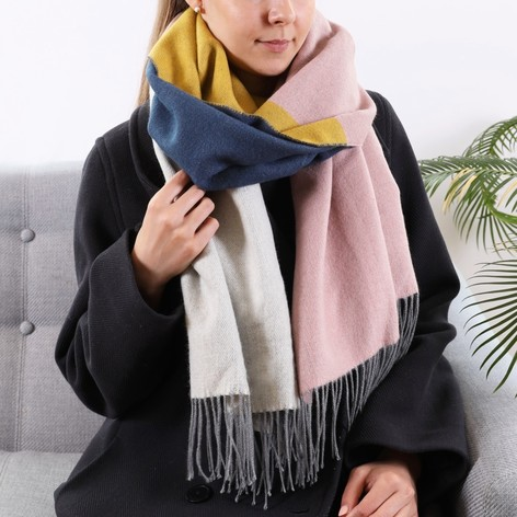 Ladies Multi-Colour Block Blanket Scarf