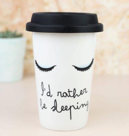 """I'd rather be sleeping"" Ceramic Travel Mug"