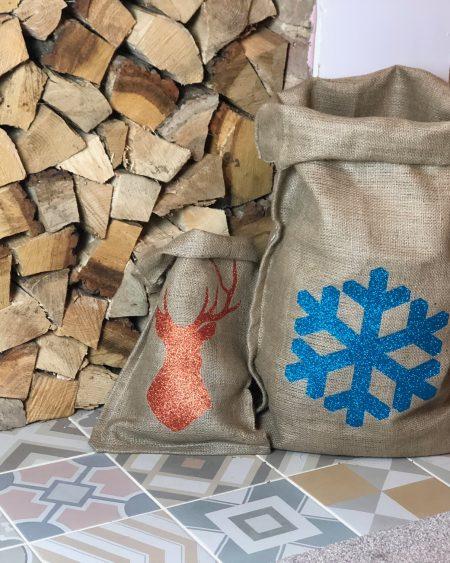 Large Hessian Santa Sack – Blue Glitter Snowflake