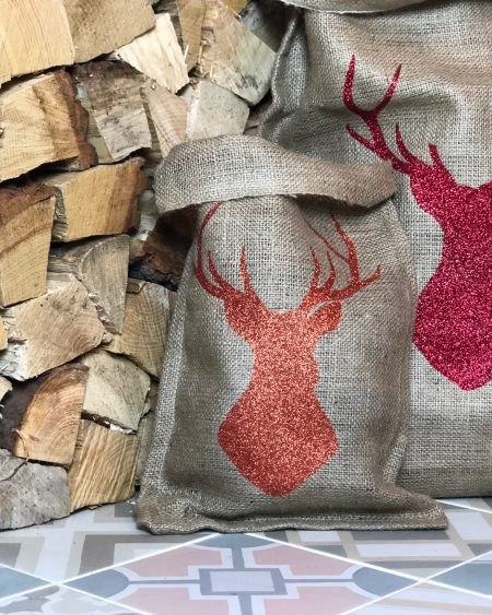 Large Hessian Santa Sack – Red Stag