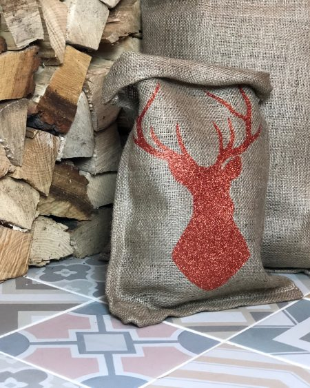 Small Hessian Gift Bag – Bronze Stag