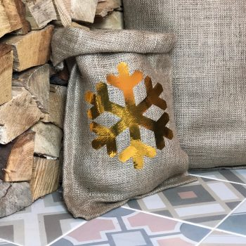 Small Hessian Gift Bag – Gold Snowflake