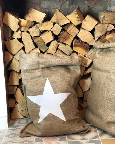 Large Hessian Santa Sack – White Star