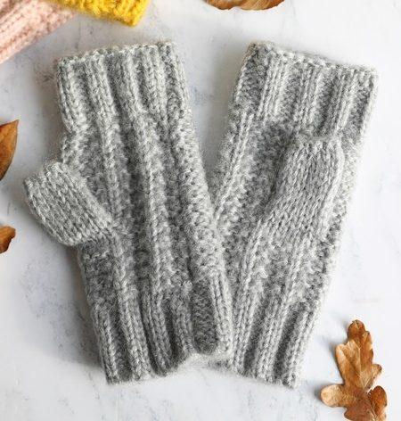 Ladies Grey Knit Handwarmers