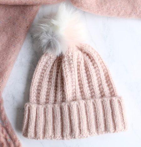 Womens Pink Knit Beanie Hat