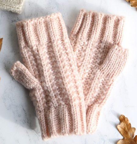 Ladies Pink Knit Handwarmers