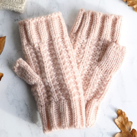 Ladies Pink Knit Handwarmers